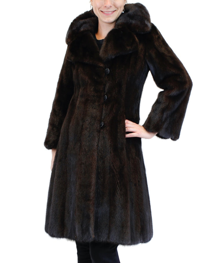 PRE-OWNED SMALL FITTED NATURAL DARK BROWN MINK FUR BUTTON-UP COAT - from THE REAL FUR DEAL & DAVID APPEL FURS new and pre-owned online fur store!