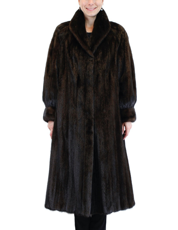 PRE-OWNED XL LONG DARK MINK FUR COAT, FEMALE, FULLY LET OUT, BILLOW SLEEVES - from THE REAL FUR DEAL & DAVID APPEL FURS new and pre-owned online fur store!