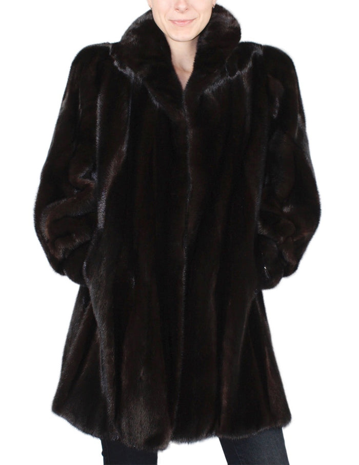 PRE-OWNED XL DARK MINK FUR STROLLER, COAT - WITH BACKGAMMON PATTERN BODY! - from THE REAL FUR DEAL & DAVID APPEL FURS new and pre-owned online fur store!
