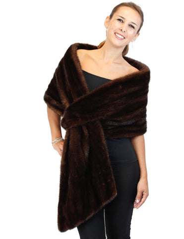 PRE-OWNED LARGE/XL DARK BROWN RANCH MINK FUR CROSSOVER STOLE! SHAWL, WRAP