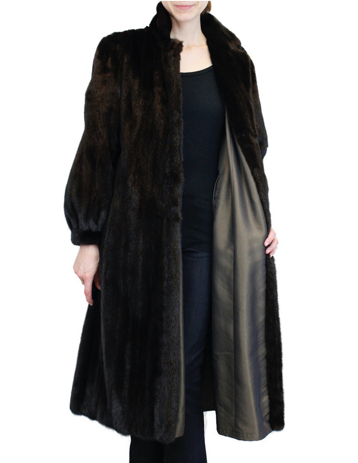 PRE-OWNED MEDIUM DARK BROWN MINK FUR <b>REVERSIBLE</b> LONG COAT, FULLY LET OUT - from THE REAL FUR DEAL & DAVID APPEL FURS new and pre-owned online fur store!