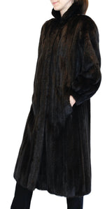 PRE-OWNED MEDIUM/LARGE DARK BROWN MINK FUR <b>REVERSIBLE</b> LONG COAT, FULLY LET OUT - from THE REAL FUR DEAL & DAVID APPEL FURS new and pre-owned online fur store!