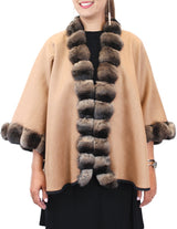 <b>REVERSIBLE</b> CASHMERE CAPE/PONCHO WITH BROWN CHINCHILLA FUR TRIM - from THE REAL FUR DEAL & DAVID APPEL FURS new and pre-owned online fur store!