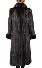 PRE-OWNED MEDIUM NATURAL DARK MAHOGANY MINK FUR COAT LONG, FULLY LET OUT! - from THE REAL FUR DEAL & DAVID APPEL FURS new and pre-owned online fur store!