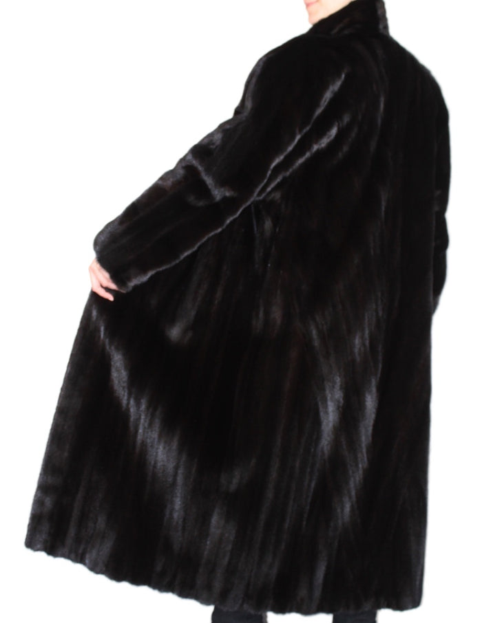 PRE-OWNED XL LONG DARK MINK FUR COAT - WITH STUNNING, DIAGONALLY WORKED FUR! - from THE REAL FUR DEAL & DAVID APPEL FURS new and pre-owned online fur store!