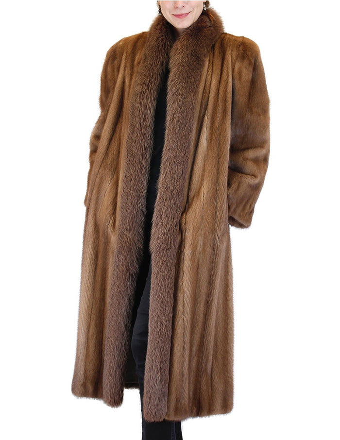 PRE-OWNED LARGE LONG DARK PASTEL MINK & BROWN FOX FUR COAT, TUXEDO FRONT - from THE REAL FUR DEAL & DAVID APPEL FURS new and pre-owned online fur store!