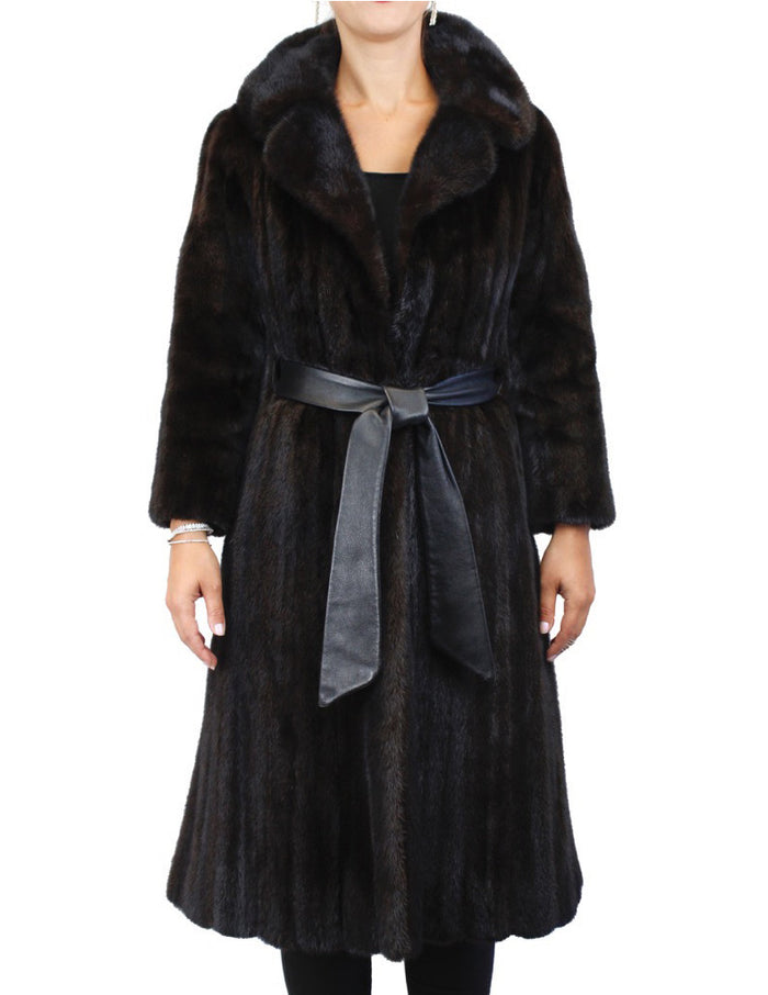 PRE-OWNED SMALL NATURAL DARK RANCH MINK FUR FULLY LET OUT FITTED COAT! - from THE REAL FUR DEAL & DAVID APPEL FURS new and pre-owned online fur store!