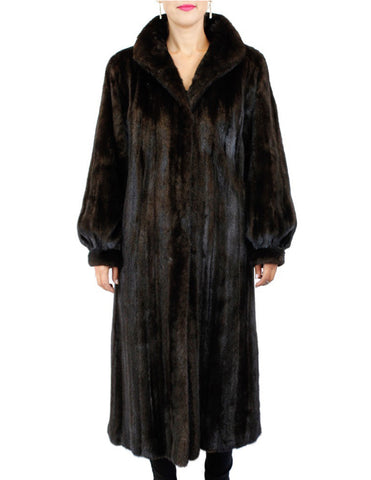 PRE-OWNED MEDIUM REVILLON SAKS FIFTH AVENUE LONG MINK FUR COAT, FULLY LET OUT!