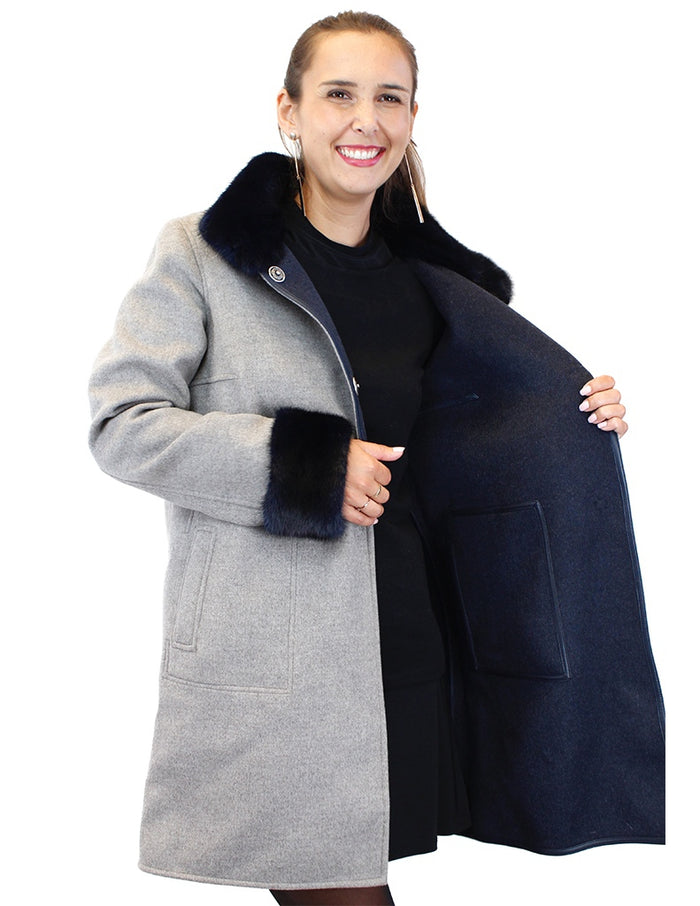 <b>DI BELLO</b> - <b>REVERSIBLE</b> GRAY/NAVY BLUE CASHMERE COAT WITH NAVY BLUE MINK FUR TRIM - from THE REAL FUR DEAL & DAVID APPEL FURS new and pre-owned online fur store!