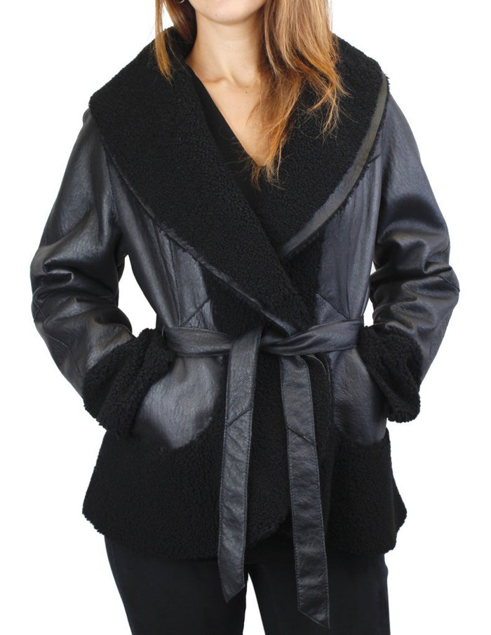 <b>HiSO</b> - BLACK SHEARLING LAMB FUR LEATHER FITTED JACKET - from THE REAL FUR DEAL & DAVID APPEL FURS new and pre-owned online fur store!