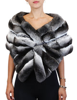 NATURAL CHINCHILLA FUR CROSSOVER BOW STOLE/WRAP - from THE REAL FUR DEAL & DAVID APPEL FURS new and pre-owned online fur store!
