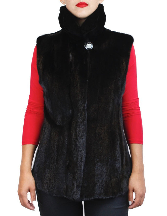 NATURAL BLACK GLAMA MINK FUR ELEGANT VEST - from THE REAL FUR DEAL & DAVID APPEL FURS new and pre-owned online fur store!