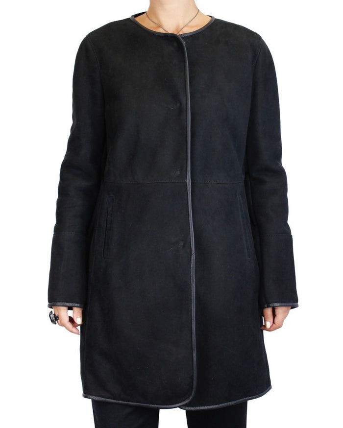 <b>DI BELLO</B> - BLACK MERINO SHEARLING COAT, JACKET - from THE REAL FUR DEAL & DAVID APPEL FURS new and pre-owned online fur store!