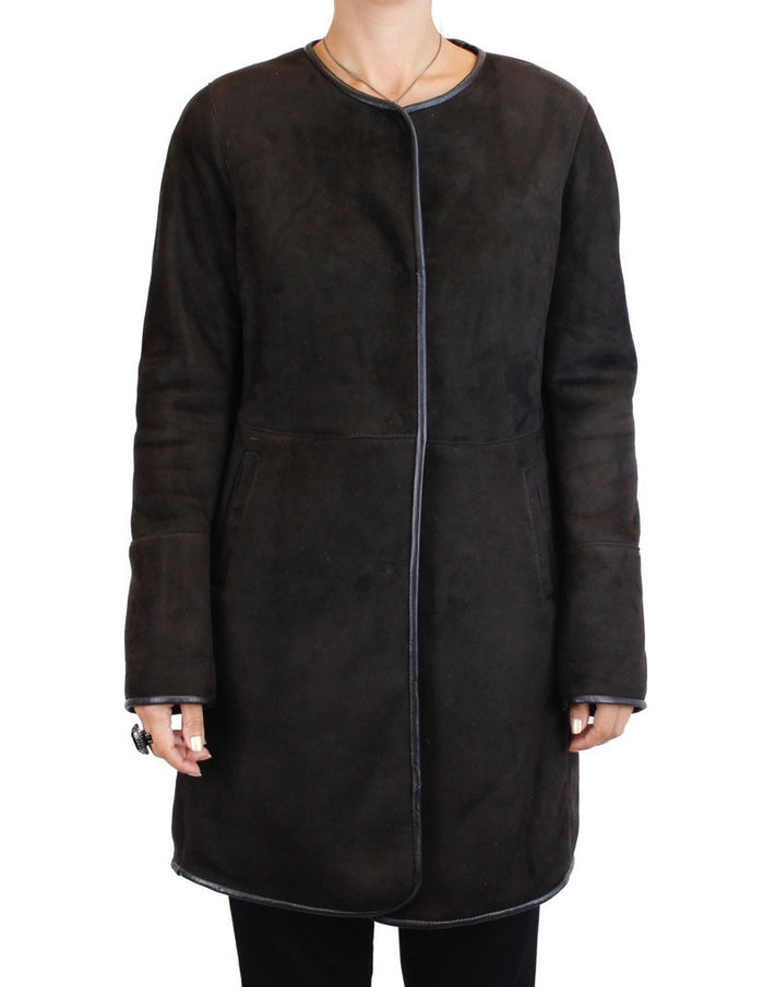 <b>DI BELLO</b> - BROWN MERINO SHEARLING COAT, JACKET - from THE REAL FUR DEAL & DAVID APPEL FURS new and pre-owned online fur store!