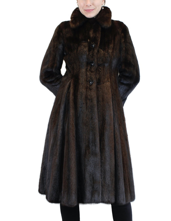 PRE-OWNED SMALL/PETITE FITTED NATURAL DARK BROWN RANCH MINK FUR SWING COAT! - from THE REAL FUR DEAL & DAVID APPEL FURS new and pre-owned online fur store!