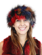 MULTICOLOR KNITTED FOX FUR HEADBAND - from THE REAL FUR DEAL & DAVID APPEL FURS new and pre-owned online fur store!