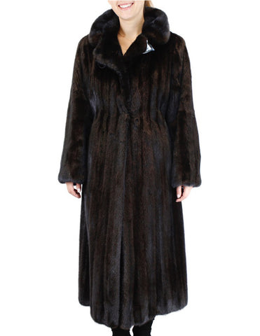 PRE-OWNED LARGE FULLY LET OUT LONG DARK FEMALE MINK FUR FITTED COAT
