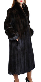 PRE-OWNED MEDIUM/LARGE LONG DARK RANCH AMERICAN FEMALE MINK FUR COAT, FULLY LET OUT - from THE REAL FUR DEAL & DAVID APPEL FURS new and pre-owned online fur store!