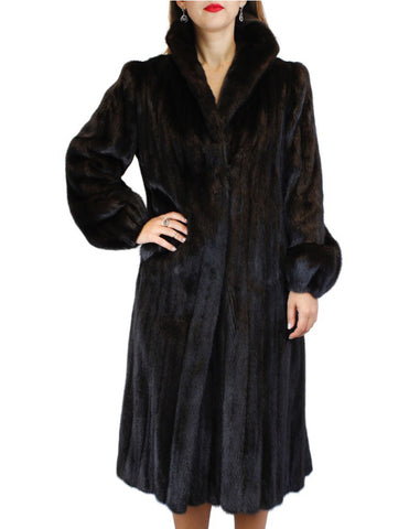 PRE-OWNED MEDIUM/LARGE LONG DARK RANCH AMERICAN FEMALE MINK FUR COAT, FULLY LET OUT
