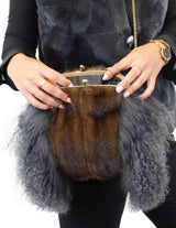 GRAY MONGOLIAN LAMB & MAHOGANY MINK FUR MUFF PURSE, BAG - from THE REAL FUR DEAL & DAVID APPEL FURS new and pre-owned online fur store!