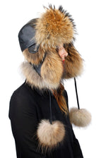 NATURAL FINNISH RACCOON FUR & BROWN LEATHER AVIATOR/TROOPER HAT W/ POM-POMS - from THE REAL FUR DEAL & DAVID APPEL FURS new and pre-owned online fur store!