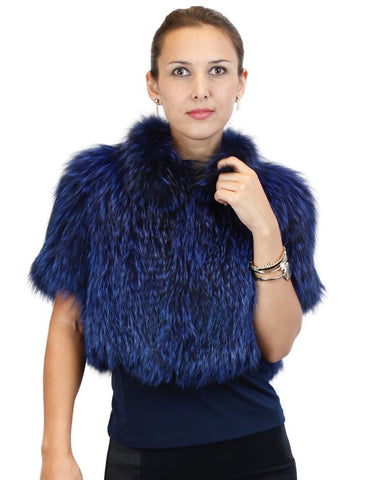 Dyed Navy Blue FOX FUR Bolero Jacket - from THE REAL FUR DEAL new and pre-owned online fur store!