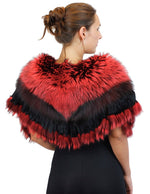 RED DYED SILVER FOX FUR COLLAR/SHAWL/WRAP WITH MATCHING FUR FRINGE - from THE REAL FUR DEAL & DAVID APPEL FURS new and pre-owned online fur store!
