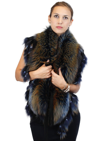 BLUE DENIM DYED SILVER FOX FUR COLLAR/SHAWL/WRAP WITH MATCHING FUR FRINGE - from THE REAL FUR DEAL & DAVID APPEL FURS new and pre-owned online fur store!