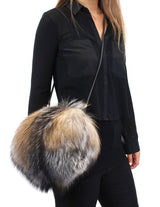 FROSTED LIGHT BROWN SILVER FOX FUR MUFF PURSE, BAG - from THE REAL FUR DEAL & DAVID APPEL FURS new and pre-owned online fur store!
