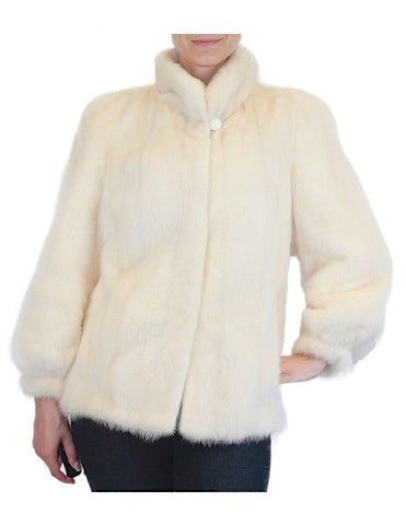PRE-OWNED MEDIUM GLACIAL MINK FUR JACKET! BEAUTIFUL OFF-WHITE COLOR! - from THE REAL FUR DEAL & DAVID APPEL FURS new and pre-owned online fur store!