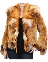 MEDIUM/LARGE GOLDEN SHEARED MINK & RUBY FOX FUR JACKET - from THE REAL FUR DEAL & DAVID APPEL FURS new and pre-owned online fur store!