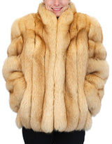 PRE-OWNED MEDIUM GOLDEN DYED FOX FUR JACKET - XLNT CONDITION! BUTTERSCOTCH - from THE REAL FUR DEAL & DAVID APPEL FURS new and pre-owned online fur store!