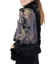 <b>GORSKI</b> - BLACK PAISLEY 100% CASHMERE & REX RABBIT FUR WRAP/SHAWL/STOLE - from THE REAL FUR DEAL & DAVID APPEL FURS new and pre-owned online fur store!