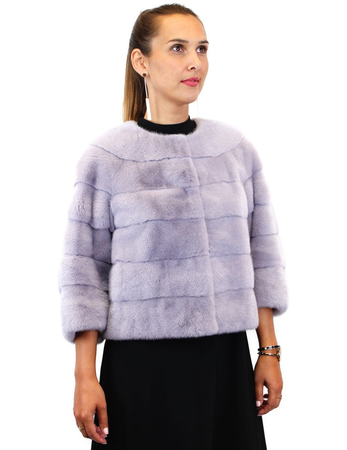 <b>GORSKI</b> - LAVENDER HORIZONTAL COLLARLESS MINK FUR JACKET - from THE REAL FUR DEAL & DAVID APPEL FURS new and pre-owned online fur store!