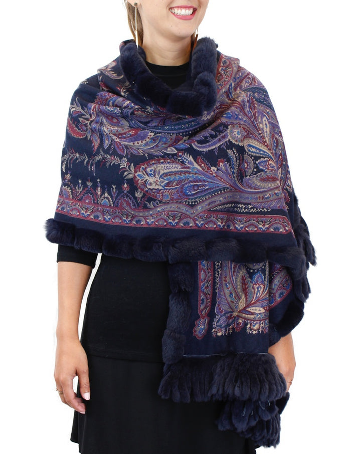 <b>GORSKI</b> - NAVY BLUE PAISLEY 100% CASHMERE & REX RABBIT FUR WRAP/SHAWL/STOLE - from THE REAL FUR DEAL & DAVID APPEL FURS new and pre-owned online fur store!
