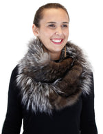 <b>GORSKI</b> - KNITTED RUSSIAN SABLE & SILVER FOX FUR INFINITY SCARF - from THE REAL FUR DEAL & DAVID APPEL FURS new and pre-owned online fur store!
