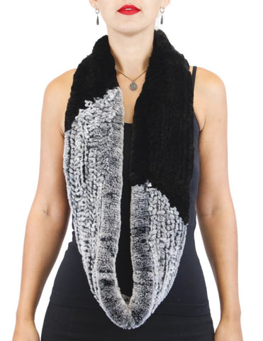 GRAY & BLACK KNITTED REX RABBIT FUR INFINITY SCARF