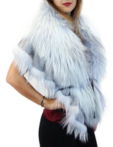 GRAY LAVENDER BLUE DYED SILVER FOX FUR & RABBIT FUR COLLAR/SHAWL/WRAP - from THE REAL FUR DEAL & DAVID APPEL FURS new and pre-owned online fur store!