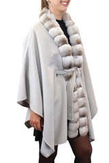 GRAY CASHMERE CAPE/PONCHO WITH BEIGE CHINCHILLA FUR TRIM - from THE REAL FUR DEAL & DAVID APPEL FURS new and pre-owned online fur store!