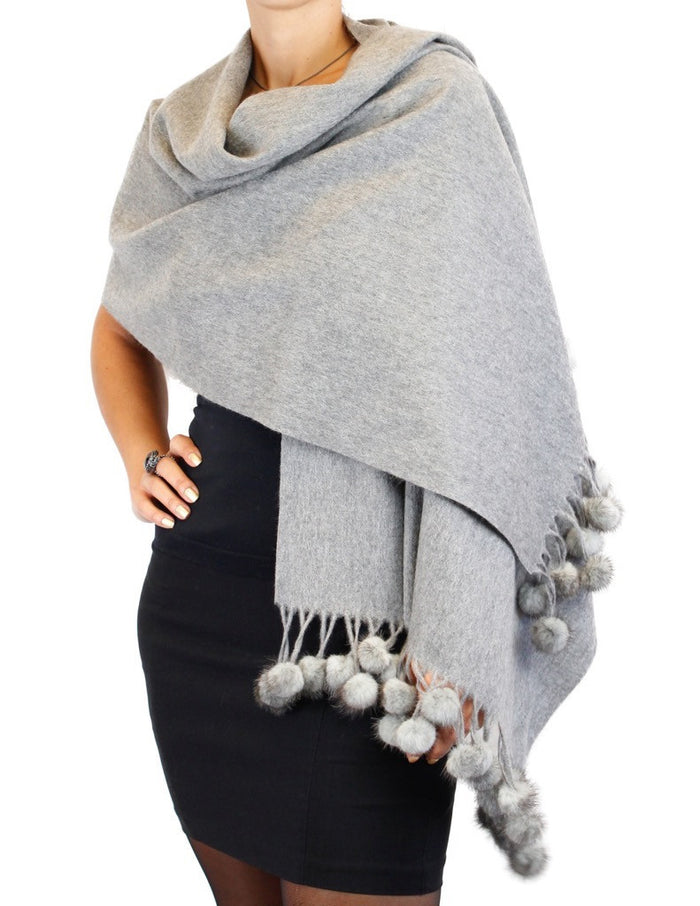 <b>BELLE FARE</b> - GRAY 100% CASHMERE & MINK FUR POM-POM SCARF/WRAP/SHAWL - from THE REAL FUR DEAL & DAVID APPEL FURS new and pre-owned online fur store!