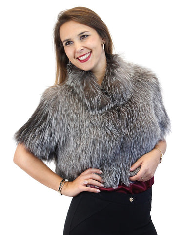 CANADIAN SILVER FOX FUR SHORT SLEEVED BOLERO JACKET