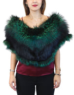 GREEN & BLACK DYED SILVER FOX FUR COLLAR/SHAWL/WRAP - from THE REAL FUR DEAL & DAVID APPEL FURS new and pre-owned online fur store!
