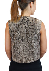 NATURAL GOLDEN RUSSIAN BROADTAIL FUR SHORT MENS-STYLE VEST - from THE REAL FUR DEAL & DAVID APPEL FURS new and pre-owned online fur store!