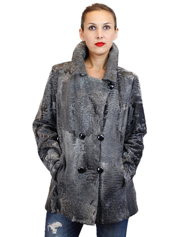 RARE NATURAL GRAY RUSSIAN BROADTAIL FITTED DOUBLE-BREASTED PEACOAT JACKET - from THE REAL FUR DEAL & DAVID APPEL FURS new and pre-owned online fur store!