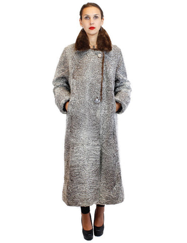 PRE-OWNED TAUPE-GRAY PERSIAN LAMB FUR LONG COAT W/ BROWN SHEARED BEAVER FUR COLLAR - from THE REAL FUR DEAL & DAVID APPEL FURS new and pre-owned online fur store!