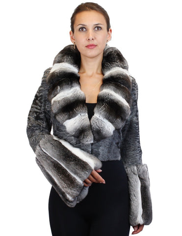 NATURAL GRAY RUSSIAN BROADTAIL & CHINCHILLA FUR SHORT BOLERO JACKET W/ BELL SLEEVES - from THE REAL FUR DEAL & DAVID APPEL FURS new and pre-owned online fur store!