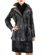 PRE-OWNED MEDIUM NATURAL GUN METAL GRAY RUSSIAN BROADTAIL SUIT - JACKET & SKIRT - from THE REAL FUR DEAL & DAVID APPEL FURS new and pre-owned online fur store!