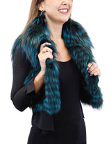 TEAL GREEN DYED FOX FUR CROPPED VEST - from THE REAL FUR DEAL & DAVID APPEL FURS new and pre-owned online fur store!