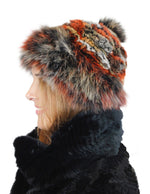 MULTICOLOR KNITTED REX RABBIT FUR & FOX FUR POM-POM BEANIE, HAT - from THE REAL FUR DEAL & DAVID APPEL FURS new and pre-owned online fur store!