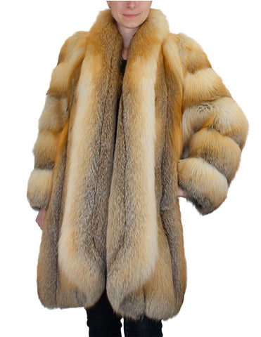 PRE-OWNED LARGE GOLDEN ISLAND FOX FUR COAT - MAGNIFICENT DESIGN!